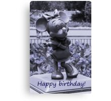 Minnie Happy Birthday (Blue) Canvas Print