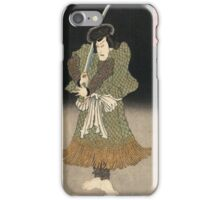 Utagawa Kunisada - An Actor In The Role Of Akugenta Yoshihra. Man portrait:  actor ,  mask,  face,  man ,  samurai ,  hero,  costume,  kimono,  tattoos,  theater,  shows iPhone Case/Skin