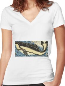 Utagawa Kuniyoshi - Miyamoto Musashi. Sea landscape: sea view,  yachts,  holiday, sailing boat, coast seaside, waves and beach, marine, seascape, sun clouds, nautical, ocean Women's Fitted V-Neck T-Shirt