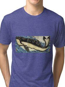 Utagawa Kuniyoshi - Miyamoto Musashi. Sea landscape: whale , shark , fish , giant , blustery, ocean, hero, warrior . Tri-blend T-Shirt