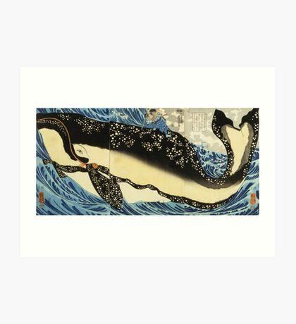 Utagawa Kuniyoshi - Miyamoto Musashi. Sea landscape: whale , shark , fish , giant , blustery, ocean, hero, warrior . Art Print