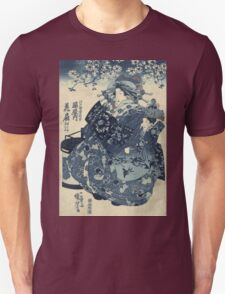Utagawa Kuniyoshi - The Courtesan Hanao Of Ogi-Ya. Woman portrait: sensual woman, geisha, kimono, courtesan, silk, beautiful dress, umbrella, wig, lady, exotic, beauty Unisex T-Shirt