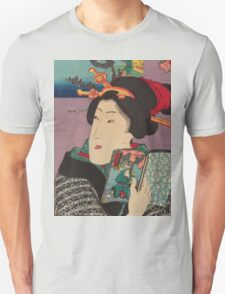 Utagawa Kunisada - Landscapes and Beauties: Feeling Like Reading the Next Volume.   Woman portrait: woman, geisha, kimono, dream, feeling, umbrella, dress, fashion , female, makeup, wig Unisex T-Shirt