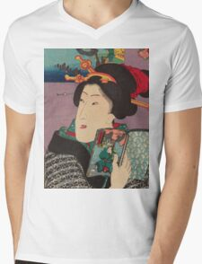 Utagawa Kunisada - Landscapes and Beauties: Feeling Like Reading the Next Volume.   Woman portrait: woman, geisha, kimono, dream, feeling, umbrella, dress, fashion , female, makeup, wig Mens V-Neck T-Shirt