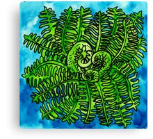 wild watercolor fern Canvas Print