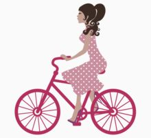 Girl On A Pink Bike One Piece - Short Sleeve