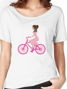 Girl On A Pink Bike Women's Relaxed Fit T-Shirt
