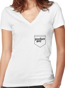 Pocket Gay Women's Fitted V-Neck T-Shirt