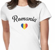 Romania heart Womens Fitted T-Shirt