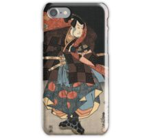 Utagawa Kunisada - An Actor In The Role Of Tadanokurando Yukitsuna. Man portrait:  actor ,  mask,  face,  man ,  samurai ,  hero,  costume,  kimono,  tattoos,  theater,  shows iPhone Case/Skin