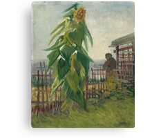 Vincent Van Gogh - Allotment With Sunflower. Country landscape: village view, country, buildings, house, rustic, farm, field, countryside road, trees, garden, flowers Canvas Print