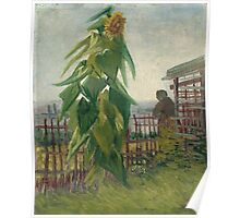 Vincent Van Gogh - Allotment With Sunflower. Country landscape: village view, country, buildings, house, rustic, farm, field, countryside road, trees, garden, flowers Poster