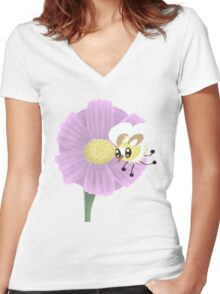 Big on a Flower Women's Fitted V-Neck T-Shirt