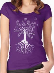 Tree of Life - white on pale blue Women's Fitted Scoop T-Shirt
