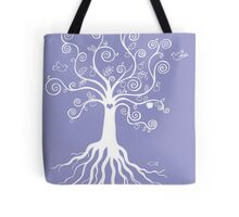 Tree of Life - white on pale blue Tote Bag