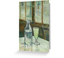 Vincent Van Gogh - Cafe Table With Absinth. Cafe view: drinking and eating party, woman and man, people, family, female and male, peasants, cafe, romance, women and men, restaurant, food Greeting Card