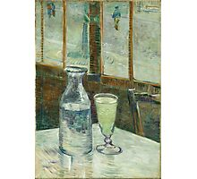 Vincent Van Gogh - Cafe Table With Absinth. Cafe view: drinking and eating party, woman and man, people, family, female and male, peasants, cafe, romance, women and men, restaurant, food Photographic Print