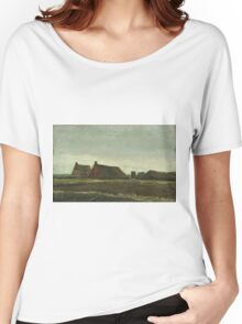 Vincent Van Gogh - Cottages. Country landscape: village view, country, buildings, house, rustic, farm, field, countryside road, trees, garden, flowers Women's Relaxed Fit T-Shirt