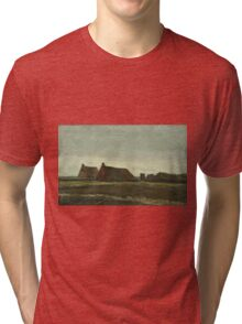 Vincent Van Gogh - Cottages. Country landscape: village view, country, buildings, house, rustic, farm, field, countryside road, trees, garden, flowers Tri-blend T-Shirt