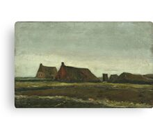 Vincent Van Gogh - Cottages. Country landscape: village view, country, buildings, house, rustic, farm, field, countryside road, trees, garden, flowers Canvas Print