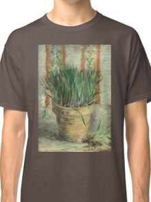 Vincent Van Gogh - Flowerpot With Garlic Chives. Still life with flowers: blossom, nature, botanical, floral flora, wonderful flower, plants, cute plant for kitchen interior, garden, vase Classic T-Shirt