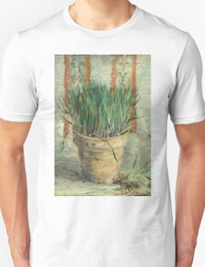 Vincent Van Gogh - Flowerpot With Garlic Chives. Still life with flowers: blossom, nature, botanical, floral flora, wonderful flower, plants, cute plant for kitchen interior, garden, vase Unisex T-Shirt