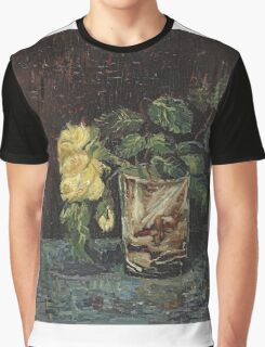 Vincent Van Gogh - Glass With Yellow Roses. Still life with flowers: flowers, blossom, nature, botanical, floral flora, wonderful flower, plants, cute plant for kitchen interior, garden, vase Graphic T-Shirt