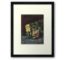 Vincent Van Gogh - Glass With Yellow Roses. Still life with flowers: flowers, blossom, nature, botanical, floral flora, wonderful flower, plants, cute plant for kitchen interior, garden, vase Framed Print