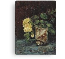 Vincent Van Gogh - Glass With Yellow Roses. Still life with flowers: flowers, blossom, nature, botanical, floral flora, wonderful flower, plants, cute plant for kitchen interior, garden, vase Canvas Print