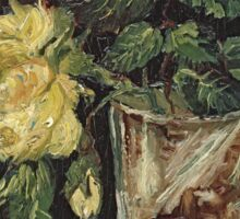 Vincent Van Gogh - Glass With Yellow Roses. Still life with flowers: flowers, blossom, nature, botanical, floral flora, wonderful flower, plants, cute plant for kitchen interior, garden, vase Sticker