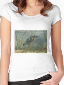 Vincent Van Gogh - Kingfisher By The Waterside. Bird painting: cute fowl, fly, wings, lucky, pets, wild life, animal, birds, little small, bird, nature Women's Fitted Scoop T-Shirt
