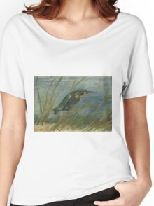 Vincent Van Gogh - Kingfisher By The Waterside. Bird painting: cute fowl, fly, wings, lucky, pets, wild life, animal, birds, little small, bird, nature Women's Relaxed Fit T-Shirt