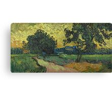 Vincent Van Gogh - Landscape At Twilight. Country landscape: village view, country, buildings, house, rustic, farm, field, countryside road, trees, garden, flowers Canvas Print