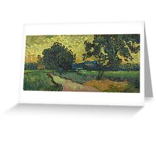 Vincent Van Gogh - Landscape At Twilight. Country landscape: village view, country, buildings, house, rustic, farm, field, countryside road, trees, garden, flowers Greeting Card