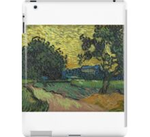 Vincent Van Gogh - Landscape At Twilight. Country landscape: village view, country, buildings, house, rustic, farm, field, countryside road, trees, garden, flowers iPad Case/Skin