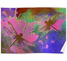 Painting Dragonflies and Pink Orchids Poster