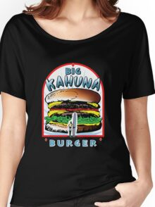 Big KAHUNA Burger - White Background on Black Variant Women's Relaxed Fit T-Shirt