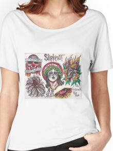 Original Slipknot Watercolor Tattoo Flash Painting Women's Relaxed Fit T-Shirt