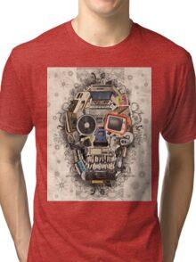 retro tech skull 2 Tri-blend T-Shirt