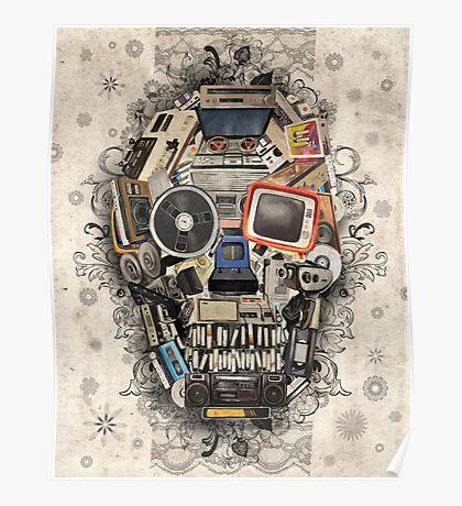 retro tech skull 2 Poster