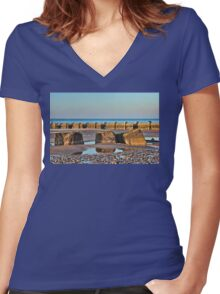 Walcott Beach and reflections Women's Fitted V-Neck T-Shirt