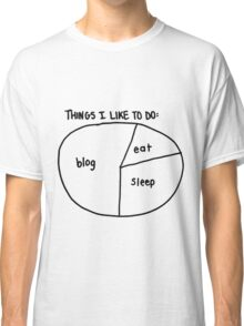 """Blog, Eat, Sleep"" pie chart Classic T-Shirt"