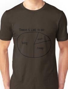 """Blog, Eat, Sleep"" pie chart Unisex T-Shirt"