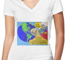 Alien finds out It was God ! Women's Fitted V-Neck T-Shirt