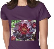 Black Beauty - Aeonium Schwarzkopf Blossoms with Raindrops   Womens Fitted T-Shirt