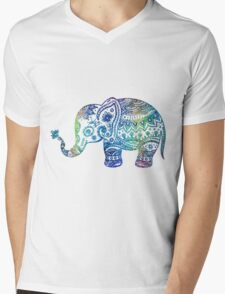 Colorful Elephant Glitter Texture Mens V-Neck T-Shirt