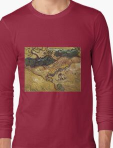 Vincent Van Gogh - Landscape With Rabbits. Field landscape: field landscape, nature, village, garden, flowers, trees, sun, rustic, countryside, sky and clouds, summer Long Sleeve T-Shirt
