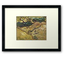 Vincent Van Gogh - Landscape With Rabbits. Field landscape: field landscape, nature, village, garden, flowers, trees, sun, rustic, countryside, hare, hares, summer Framed Print