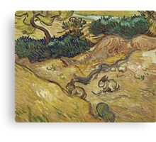 Vincent Van Gogh - Landscape With Rabbits. Field landscape: field landscape, nature, village, garden, flowers, trees, sun, rustic, countryside, hare, hares, summer Canvas Print