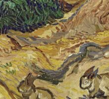 Vincent Van Gogh - Landscape With Rabbits. Field landscape: field landscape, nature, village, garden, flowers, trees, sun, rustic, countryside, hare, hares, summer Sticker